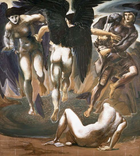 Edward Burne-Jones, Perseus-Zyklus: The Death of Medusa (II) [Der Tod der Medusa (II)], um 1882, Gouache/Papier, 152,5 x 136,5 cm (Southampton City Art Gallery)
