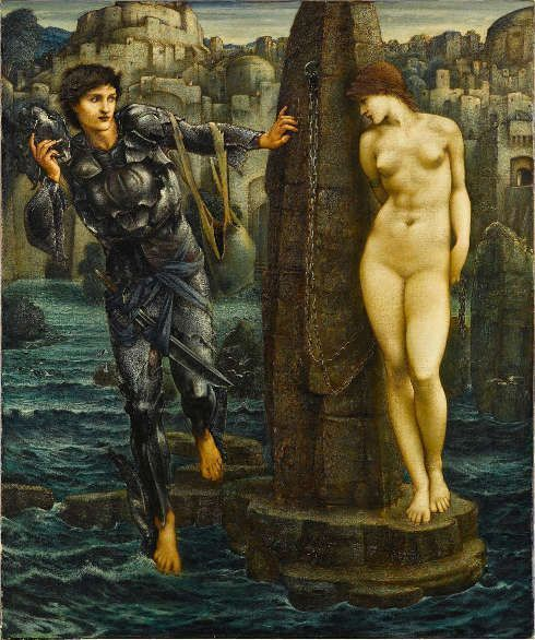 Edward Burne-Jones, Perseus-Zyklus: The Rock of Doom [Der Schicksalsfelsen], 1885–1888, Öl/Lw, 155 x 130 cm (Staatsgalerie, Stuttgart)