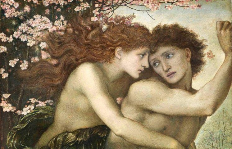 Edward Burne-Jones, Phyllis and Demophoön [Phyllis und Demophon], Detail, 1870, Aquarell/Papier, 93 x 47 cm (© Birmingham Mueums Trust)