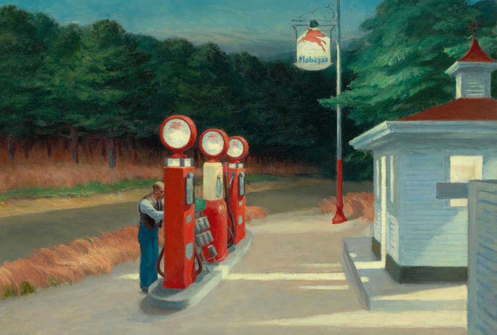 Edward Hopper, Gas, 1940, Öl/Lw, 66,7 x 102,2 cm (The Museum of Modern Art, New York, Mrs. Simon Guggenheim Fund © Heirs of Josephine Hopper / 2019, ProLitteris, Zurich © 2019 Digital image, The Museum of Modern Art, New York / Scala, Florence)