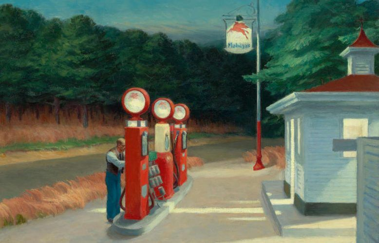 Edward Hopper, Gas, Detail, 1940, Öl/Lw, 66,7 x 102,2 cm (The Museum of Modern Art, New York, Mrs. Simon Guggenheim Fund © Heirs of Josephine Hopper / 2019, ProLitteris, Zurich © 2019 Digital image, The Museum of Modern Art, New York / Scala, Florence)