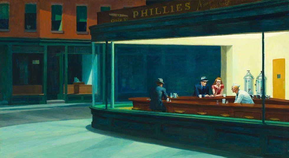 Edward Hopper, Nighthawks [Nachtschwärmer], 1942, Öl/Lw, 84.1 × 152.4 cm (Art Institute of Chicago, Friends of American Art Collection, Inv.-Nr. 1942.51)