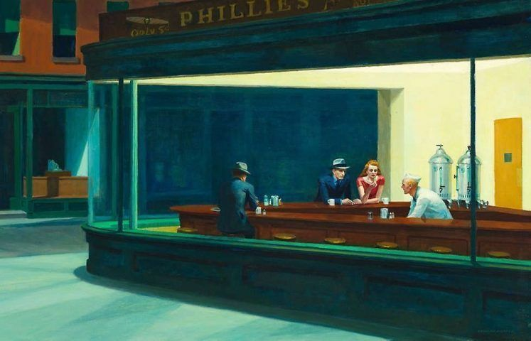 Edward Hopper, Nighthawks [Nachtschwärmer], Detail, 1942, Öl/Lw, 84.1 × 152.4 cm (Art Institute of Chicago, Friends of American Art Collection, Inv.-Nr. 1942.51)