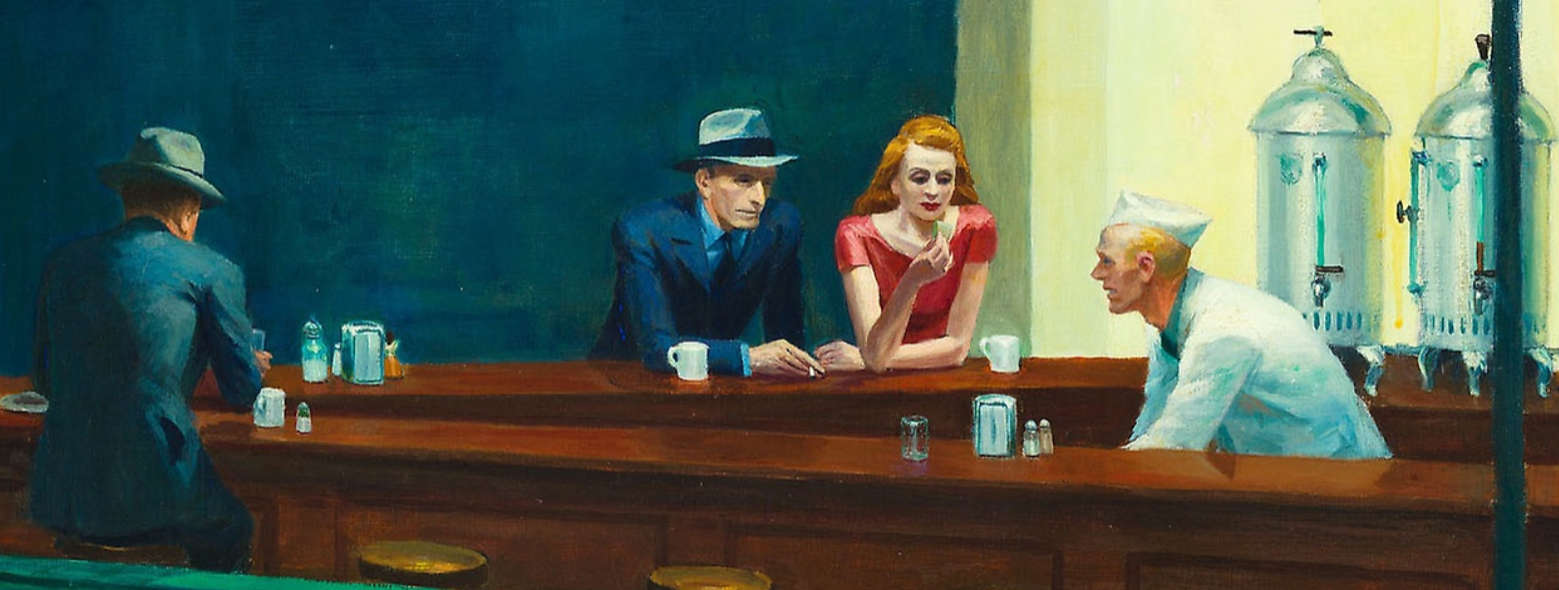 Edward Hopper, Nighthawks [Nachtschwärmer], Detail der Nachtschwärmer, 1942, Öl/Lw, 84.1 × 152.4 cm (Art Institute of Chicago, Friends of American Art Collection, Inv.-Nr. 1942.51)