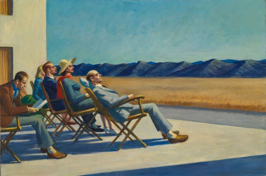 Edward Hopper, People in the Sun, 1960, Öl auf Leinwand, 102.1 x 127.3 cm (Whitney Museum of American Art, New York; Purchase, with funds from the Friends of the Whitney Museum of American Art., Inv. N.: 60.54. © Heirs of Josephine Hopper / 2019, ProLitteris, Zürich, Foto: © 2019. Digital image Whitney Museum of American Art / Licensed by Scala)