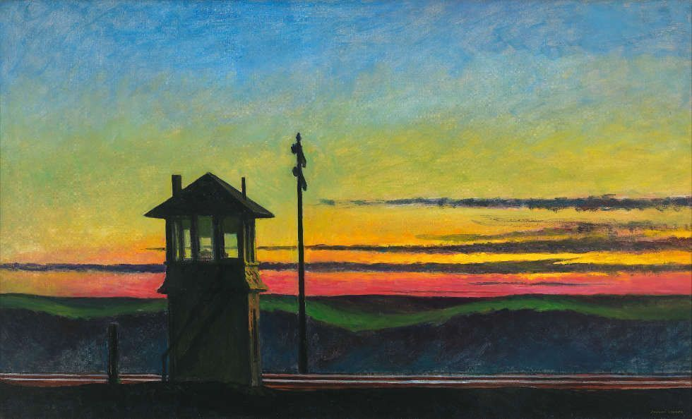 Edward Hopper, Railroad Sunset, 1929, Öl auf Leinwand, 74.5 x 122.2 cm (Whitney Museum of American Art, New York; Josephine N. Hopper Bequest, Inv. N.: 70.1170. © Heirs of Josephine Hopper / 2019, ProLitteris, Zürich, Foto: © 2019. Digital image Whitney Museum of American Art / Licensed by Scala)