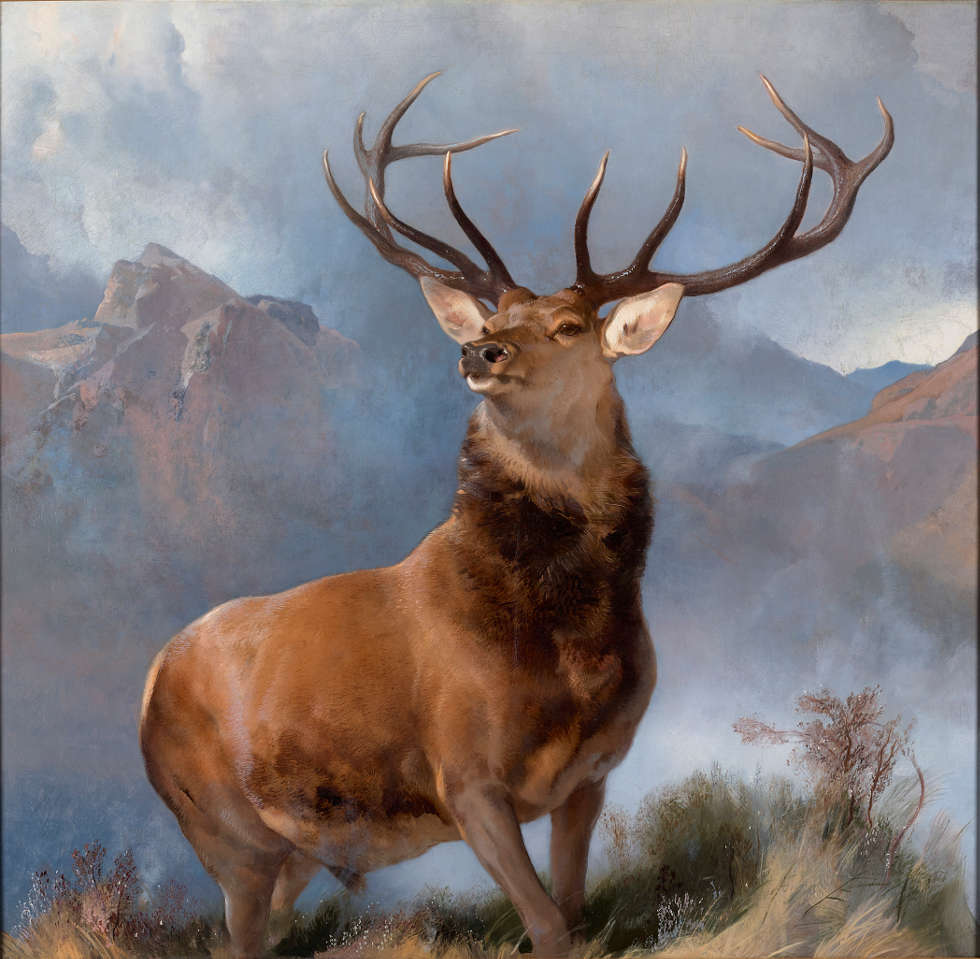 Edwin Landseer, The Monarch of the Glen, um 1851, Öl/Lw, 163.8 × 168.9 cm (Purchased by the National Galleries of Scotland as a part gift from Diageo Scotland Ltd, with contributions from the Heritage Lottery Fund, Dunard Fund, the Art Fund, the William Jacob Bequest, the Tam O' Shanter Trust, the Turtleton Trust, and the K. T. Wiedemann Foundation, Inc. and through public appeal 2017 (NG 2881) © National Galleries of Scotland)