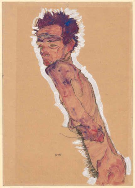 Egon Schiele, Aktselbstbildnis, 1910, Schwarze Kreide, Pinsel, Aquarell, Deckfarben, Deckweiß auf braunem Packpapier (Albertina, Wien)