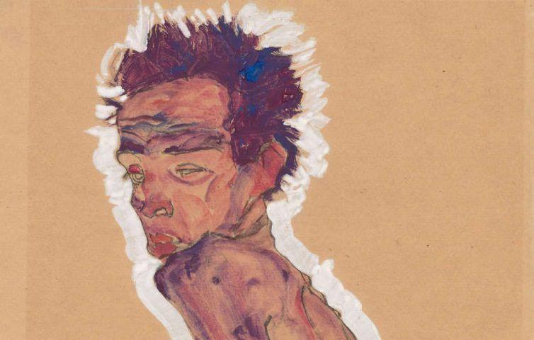 Egon Schiele, Aktselbstbildnis, Detail, 1910, Schwarze Kreide, Pinsel, Aquarell, Deckfarben, Deckweiß auf braunem Packpapier (Albertina, Wien)