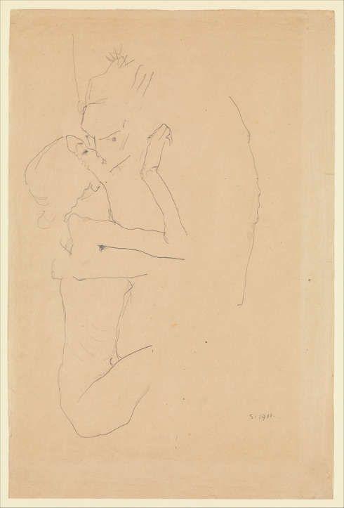 Egon Schiele, Der Kuss, 1911, Bleistift, 55,9 x 37,5 cm (The Metropolitan Museum, New York, Bequest of Scofield Thayer, 1982)