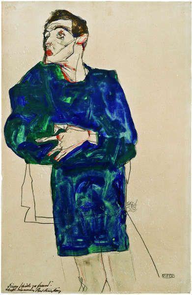 Egon Schiele, Der Rufer, 1913, Aquarell, Gouache und Bleistift auf Papier, 48 x 31 cm (Callimanopulos Sammlung)