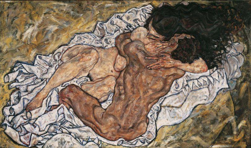Egon Schiele, Die Umarmung, 1917, Öl auf Leinwand, 100 x 170 cm (© Belvedere, Wien)