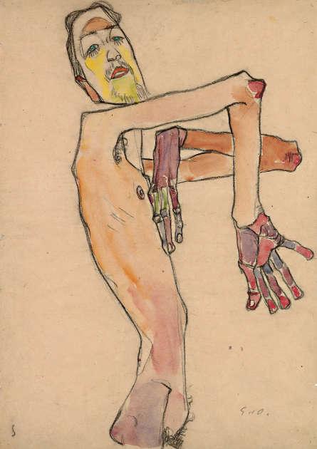 Egon Schiele, Erwin Dominik Osen als Akt mit überkreuzten Armen, 1910 © Leopold Museum, Wien Foto Leopold Museum, Wien, Manfred Thumberger
