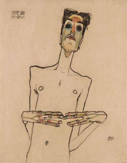 Egon Schiele, Erwin Dominik Osen mit aneinandergelegten Fingerspitzen, 1910 © Leopold Museum, Wien, Inv. 2348
