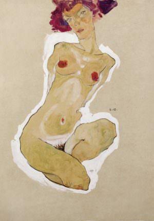 Egon Schiele, Hockender weiblicher Akt, 1910, Schwarze Kreide, Gouache, Deckweiß auf Papier, 44,7 × 31 cm (Leopold Museum, Wien)