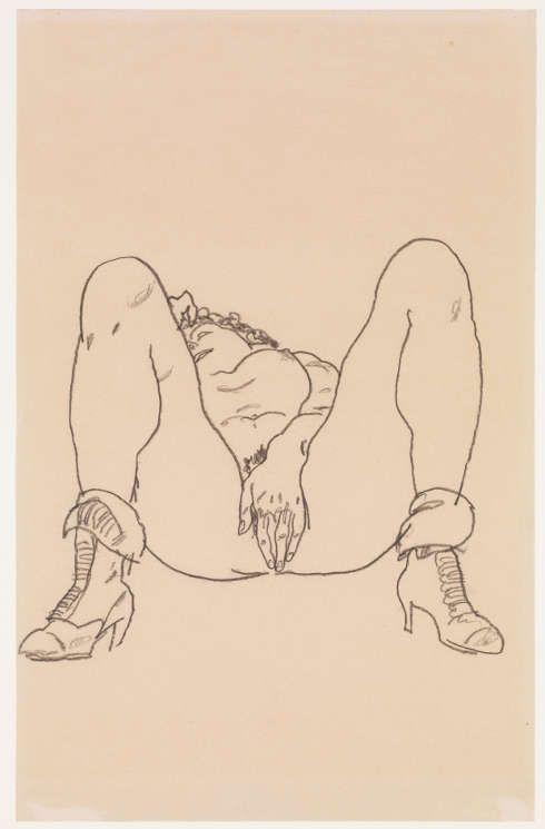 Egon Schiele, Liegender Akt mit Stiefeln, 1918, Kohle, 46,4 x 29,5 cm (The Metropolitan Museum, New York, Bequest of Scofield Thayer, 1982)