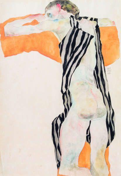 Egon Schiele, Liegender Mädchenakt in gestreiftem Kittel, 1911, Bleistift und Aquarell auf Papier, 44.3 x 30.6 cm (Privatsammlung. Courtesy Kunsthandel Giese & Schweiger, Wien)