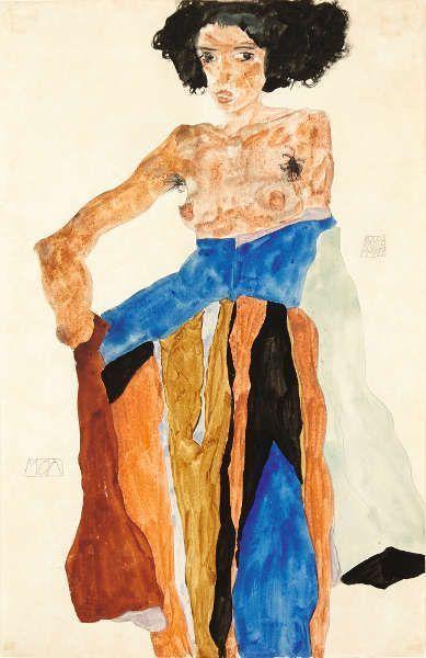 Egon Schiele, Moa, 1911, Gouache, Aquarell, Bleistift auf Papier, 48 x 31 cm (Privatsammlung, London, Foto © Mathias Kessler, 2017)