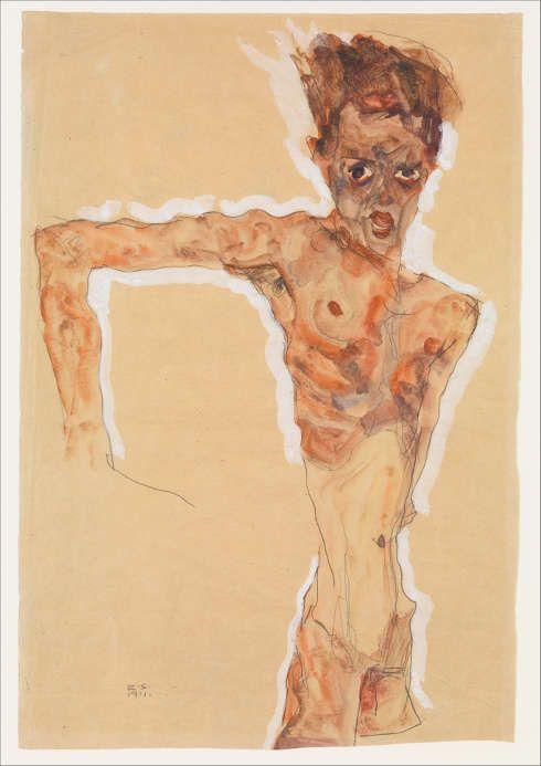 Egon Schiele, Selbstporträt, 1911, Aquarell, Gouache und Bleistift, 51,4 x 34,9 cm (The Metropolitan Museum, New York, Bequest of Scofield Thayer, 1982)