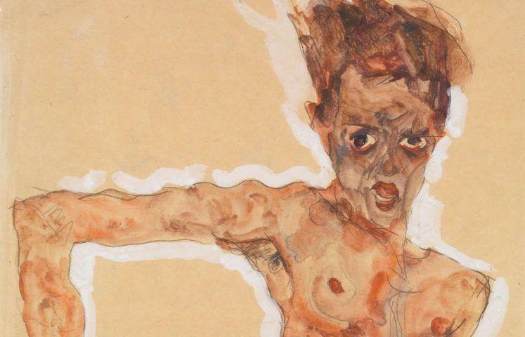 Egon Schiele, Selbstporträt, Detail, 1911, Aquarell, Gouache und Bleistift, 51,4 x 34,9 cm (The Metropolitan Museum, New York, Bequest of Scofield Thayer, 1982)