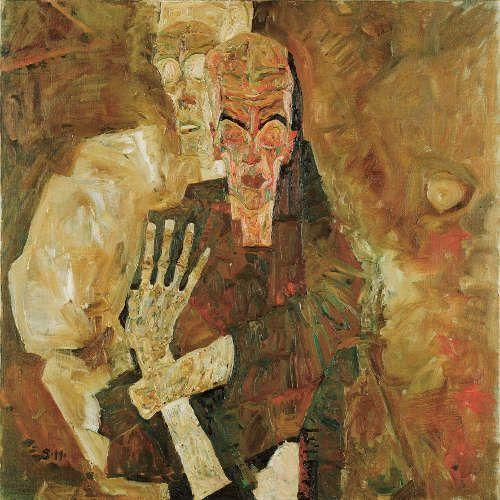 Egon Schiele, Selbstseher II (Tod und Mann), 1911, Öl auf Leinwand, 80,5 × 80 cm (© Leopold Museum, Wien)