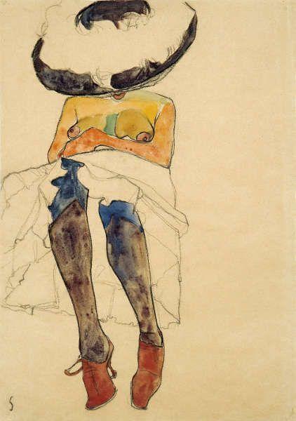 Egon Schiele, Sitzender Halbakt mit Hut und violetten Socken (Gerti), 1910, Schwarze Kreide, Gouache und Aquarell auf Papier, 44.9 × 31.7 cm (Privatsammlung. Courtesy W&K-Wienerroither & Kohlbacher)