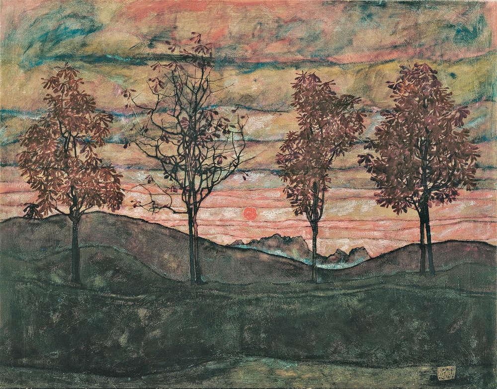 Egon Schiele, Vier Bäume, Detail, 1917 (Belvedere, Wien)