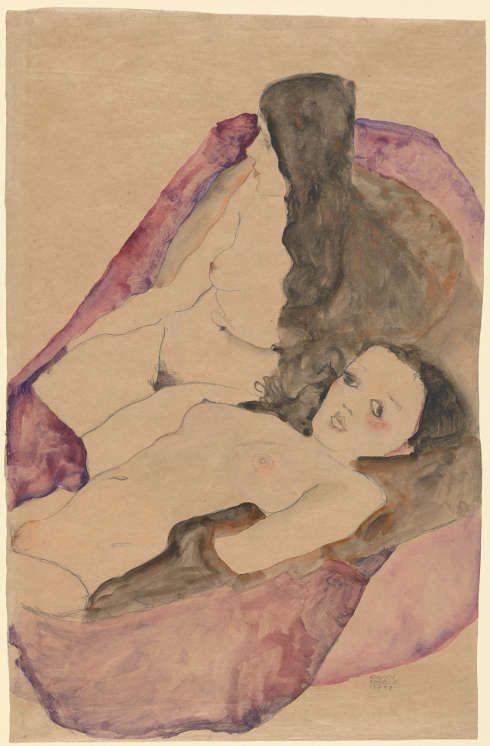 Egon Schiele, Zwei liegende Akt, 1911, Aquarell und Bleistift, 56,5 x 36,8 cm (The Metropolitan Museum, New York, Bequest of Scofield Thayer, 1982)