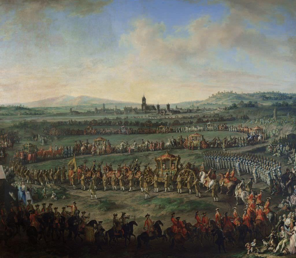 Johann Dallinger von Dalling, Einzug von Kaiser Franz I. Stephan und seines Sohnes Joseph II. in Frankfurt am 29. März 1764, 1766/67, Öl auf Leinwand, 358 x 412 cm (Kunsthistorisches Museum, Wien, Inv.-Nr. GG 7467)