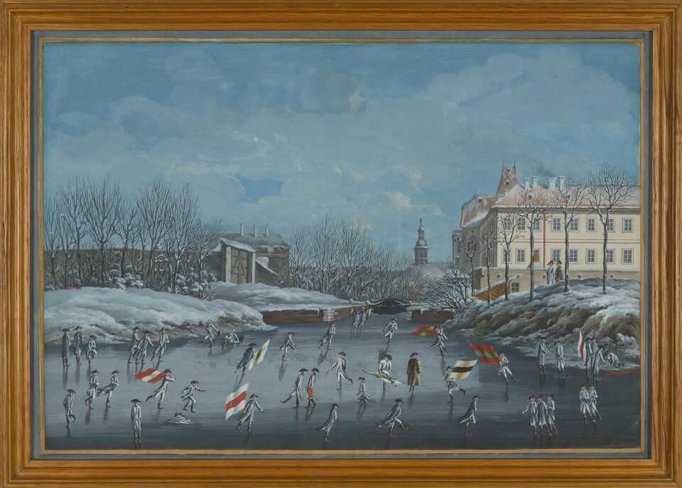 Aus dem Leben der Zöglinge, Eislaufen und Fahnenschwingen, um 1790 © SKB, Theresianische Militärakademie, Wr. Neustadt, Foto A.E. Koller