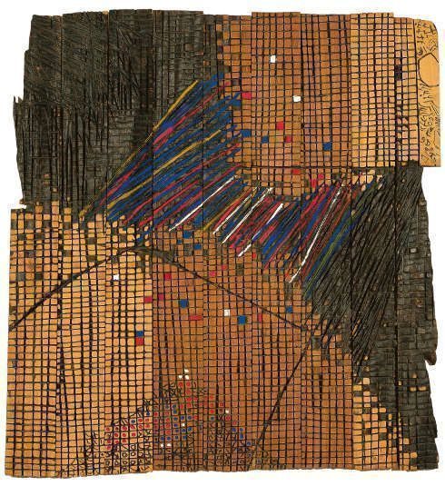 El Anatsui, Earth-Moon Connexions, 1993, Holz, Tempera, 90 x 84,4 x 3 cm (Collection of the Smithsonian National Museum of African Art, Washington, DC)