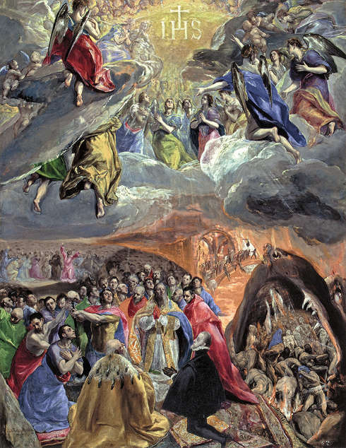 El Greco, Anbetung des Namens Jesu, genannt Der Traum von Philipp II., um 1575–1580, Öl und Tempera auf Holz, 55,1 × 33,8 cm (London, The National Gallery Photo © The National Gallery, London, Dist. RMNGrand Palais / National Gallery Photographic Department)