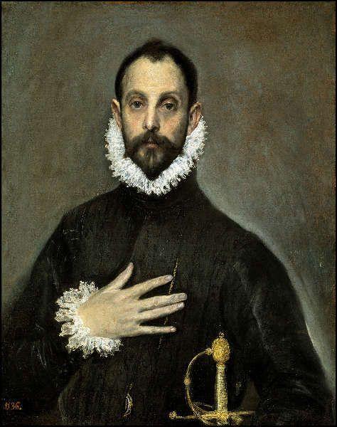 El Greco, Edelmann mit seiner Hand an der Brust, um 1580, Öl/Lw, 82 x 66 cm (Madrid, Museo Nacional del Prado)