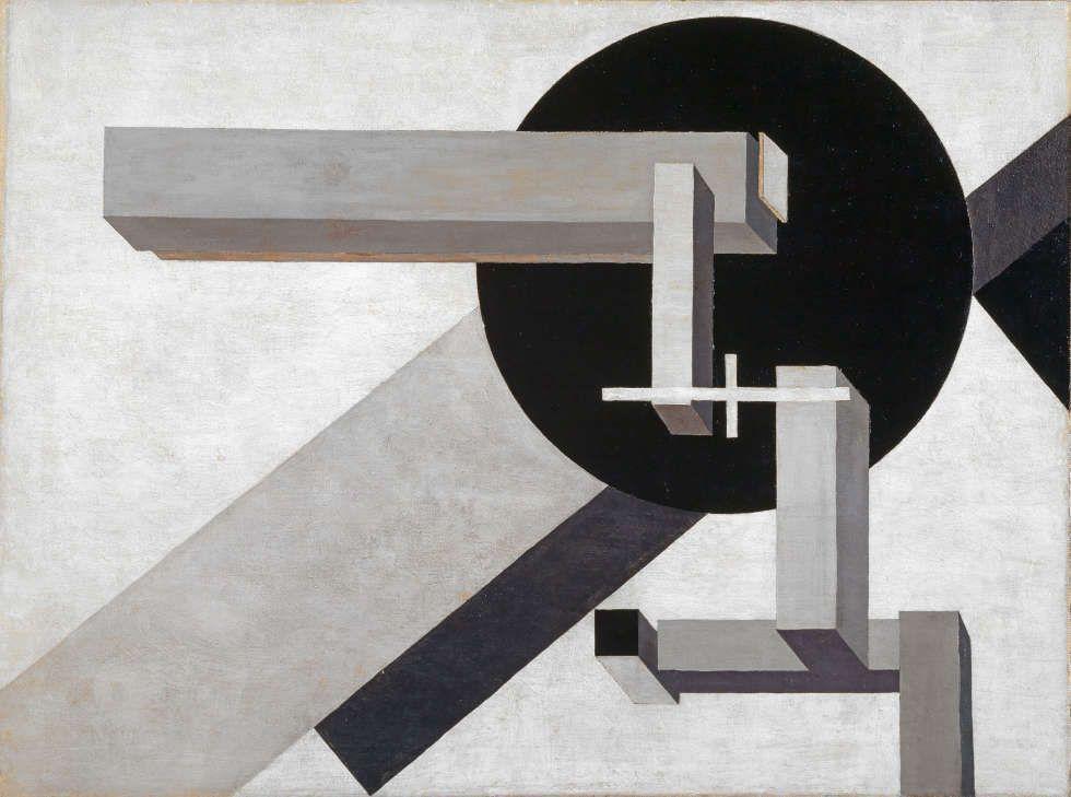 El Lissitzky, Proun 1 D, 1919, Öl auf Leinwand, auf Sperrholz, 71.6 x 96.1 cm (Kustmuseum Basel, Inv. G 1965.12)
