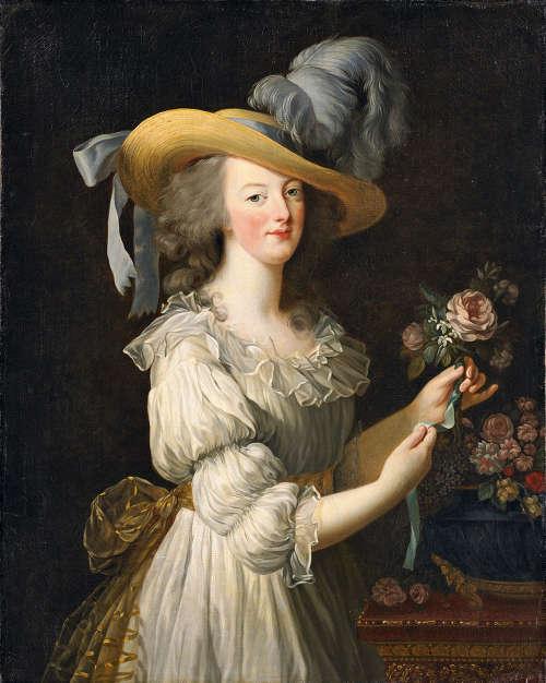 Elisabeth Louise Vigée Le Brun, Marie Antoinette in einem Chemisen Kleid, 1783, Öl auf Leinwand, 89.8 × 72 cm (Hessische Hausstiftung, Kronberg)
