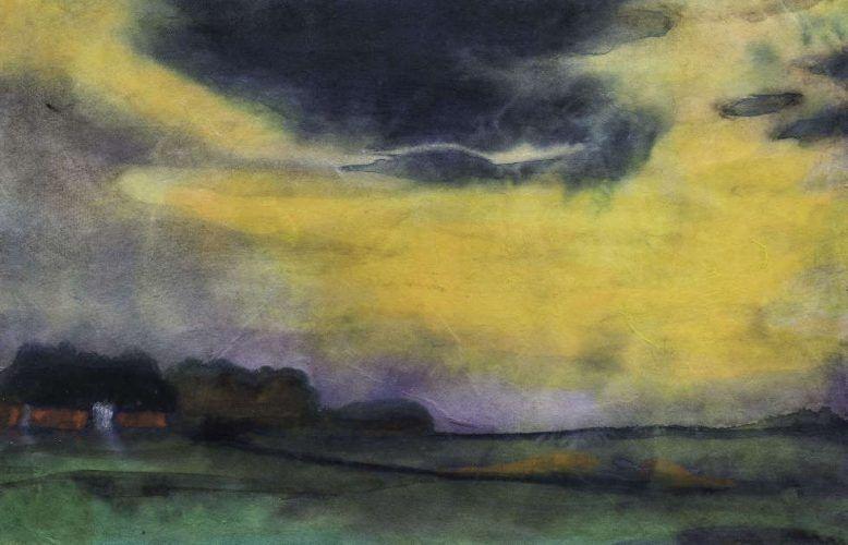 Emil Nolde, Abendhimmel, Detail, um 1930, Aquarell auf Japanpapier, 35,2 x 47,3 cm (Foto: Linda Inconi-Jansen)
