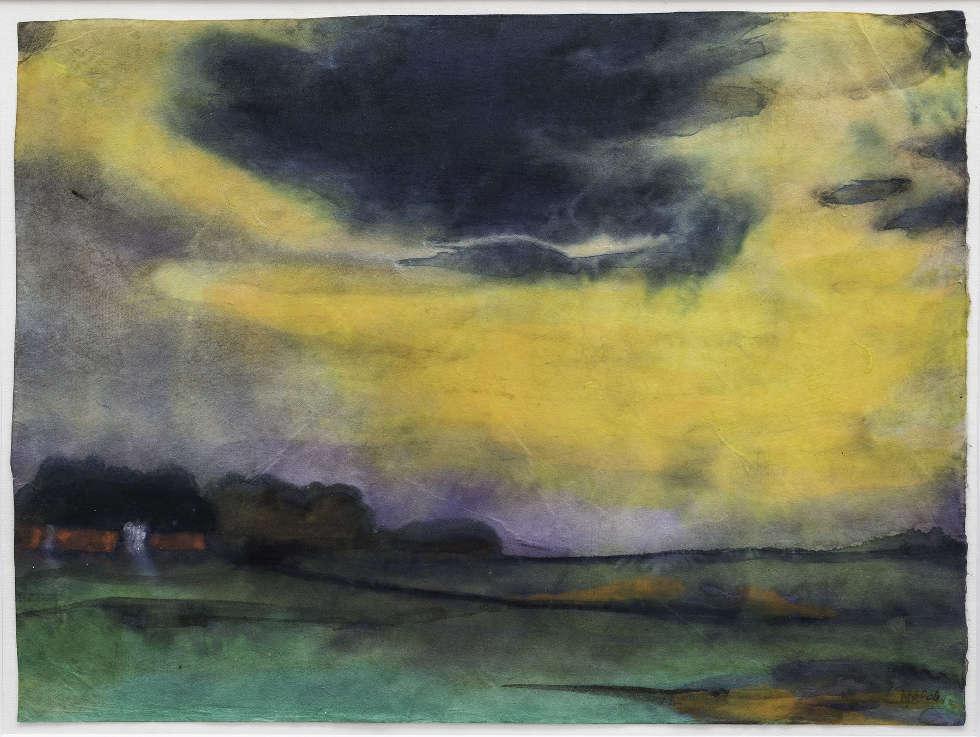 Emil Nolde, Abendhimmel, um 1930, Aquarell auf Japanpapier, 35,2 x 47,3 cm (Foto: Linda Inconi-Jansen)