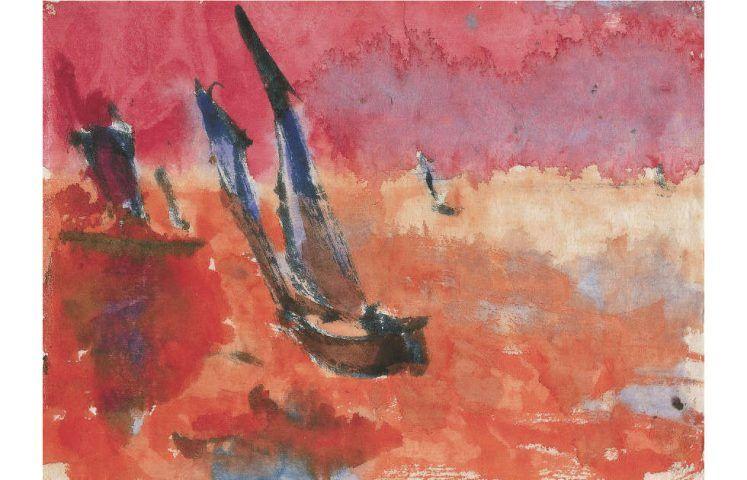 Emil Nolde, Dschunken (rot), 1913, Aquarell, 24 x 33.2cm (© Nolde Stiftung Seebüll)