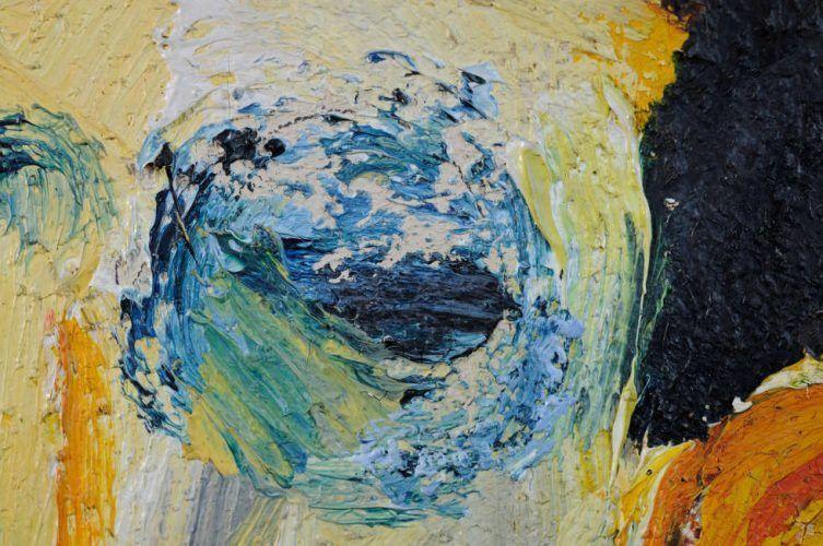 Emil Nolde, Herr und Dame (im roten Saal), Detail, 1911, Öl/Leinwand, 73 x 88 cm (Hamburger Kunsthalle, Dauerleihgabe der Stiftung Hamburger Kunstsammlungen © Nolde Stiftung Seebüll, Foto Elke Walford)
