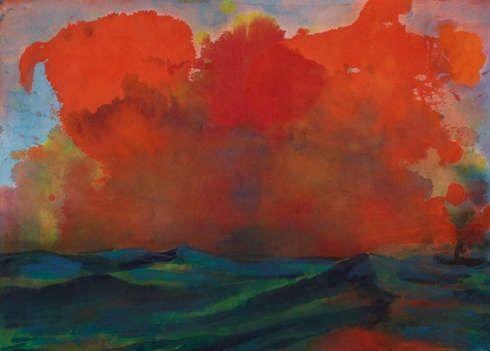 Emil Nolde, Meer mit roten Wolken, 1930, Aquarell, 34,3 x 48 cm (Museum Folkwang, Essen, Foto: Jens Nober)