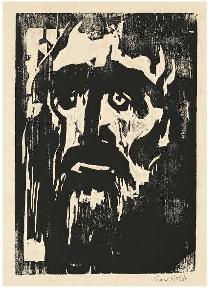 Emil Nolde, Prophet, 1912, Holzschnitt, 29.8 x 22.1 cm (© Nolde Stiftung Seebüll)