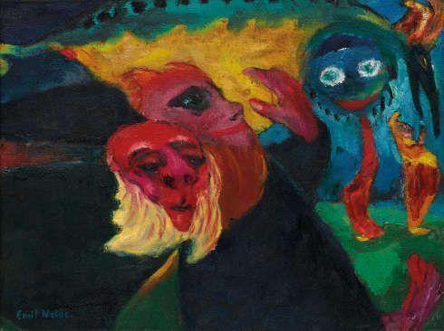 Emil Nolde, Seltsame Wanderer, 1923, Öl/Sackleinen, 67,5 x 88 cm (Nolde Stiftung Seebüll, © Nolde Stiftung Seebüll Foto: Fotowerkstatt Elke Walford und Dirk Dunkelberg)