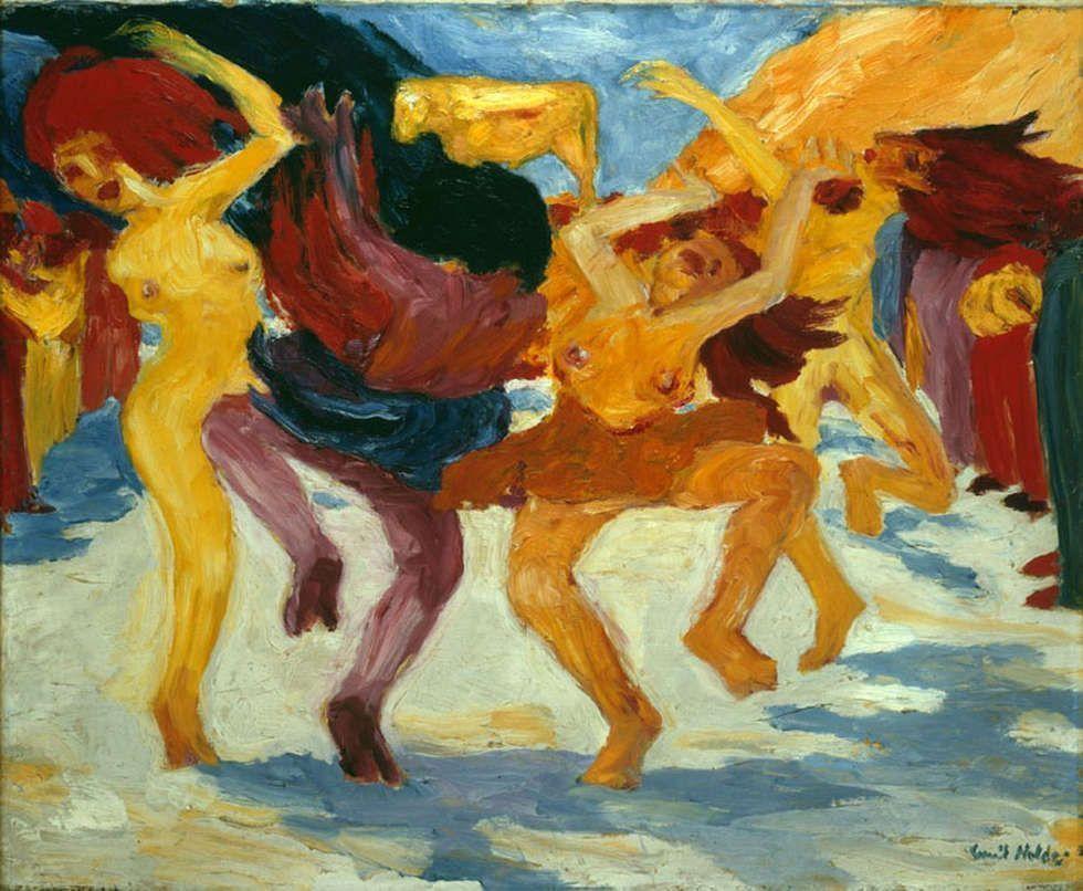 Emil Nolde, Tanz um das Goldene Kalb, 1910, Öl/Lw, 87,5 x 105 cm, Inv. Nr. 13351 (Pinakothek der Moderne, München © Stiftung Seebüll Ada und Emil Nolde, Foto: Bayerische Staatsgemäldesammlungen, Sibylle Forster)