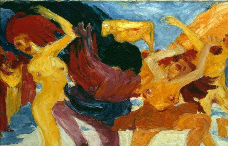 Emil Nolde, Tanz um das Goldene Kalb, Detail, 1910, Öl/Lw, 87,5 x 105 cm, Inv. Nr. 13351 (Pinakothek der Moderne, München © Stiftung Seebüll Ada und Emil Nolde, Foto: Bayerische Staatsgemäldesammlungen, Sibylle Forster)
