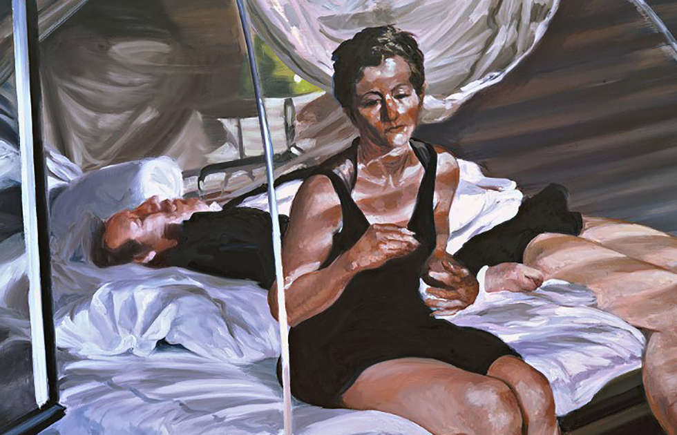Eric Fischl, The Krefeld Project: The Bedroom. Scene 1, Detail, 2002, Öl auf Leinwand (ALBERTINA, Wien – The JABLONKA Collection © Eric Fischl / Bildrecht, Wien, 2019)