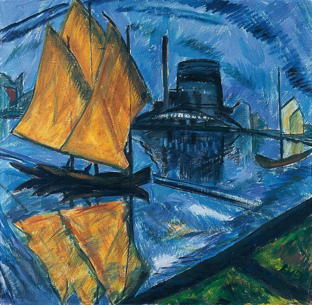 Erich Heckel, Gelbe Segel (Fabrik am Wasser), 1913, Öl/Lw, 79 x 83 cm, sign. u. r.: EH (Geschenk des Künstlers an den Jenaer Kunstverein 1914, Kunstsammlung Jena, Inv. Nr. II 498 © Foto: Kunstsammlung Jena)