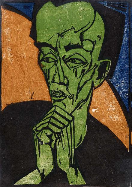 Erich Heckel, Männerbildnis, 1917–1919, Farbholzschnitt, 46,2 x 32,5 cm (Museum Folkwang, Essen, Foto: Jens Nober)