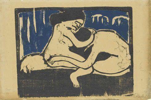Erich Heckel, Paar, 1910, Farbholzschnitt auf verbräuntem Papier (Staatsgalerie Stuttgart, Graphische Sammlung)