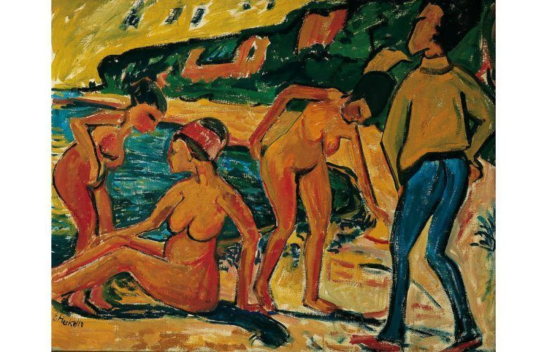 Erich Heckel, Szene am Meer, 1912, Öl auf Leinwand, 96 x 121 cm (Von der Heydt-Museum Wuppertal, © Nachlass Otto Gleichmann, Foto: © Von der Heydt-Museum Wuppertal / Foto: Antje Zeis-Loi, Medienzentrum Wuppertal)