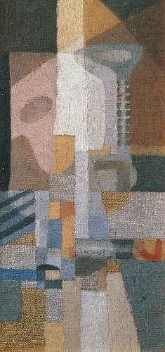 Erika Giovanna Klien, Komposition mit Saiteninstrumenten, 1923–1924, Öl auf Leinwand auf Karton, 29,5 x 14 cm (© Belvedere Wien)